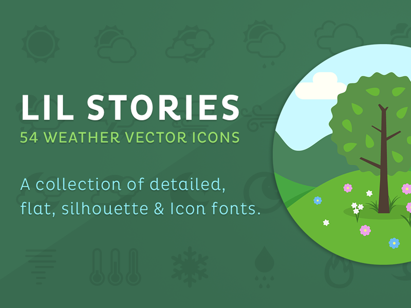 Lil Stories - Weather Icons weather icons vector lil squid creative market