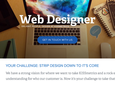 We're Hiring! Design at KISSmetrics hire hiring career position job kissmetrics team design web designer