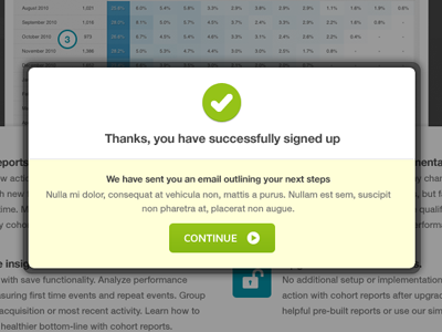 Signed up modal modal overlay kissmetrics