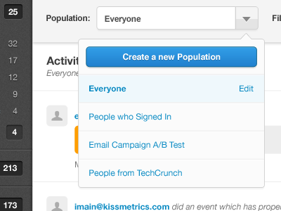 KISSmetrics Live update kissmetrics live analytics metrics dropdown