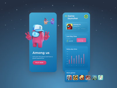 Among us Game launcher gamelauncher play game appdesing uitrends userinterface interface amongus appdesign webapplication webapp uiux ux ui