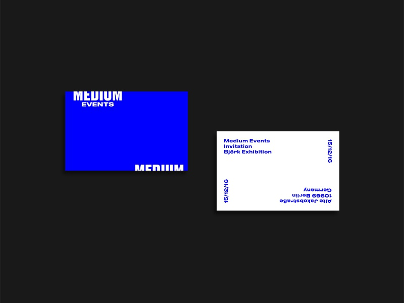 Medium Events Invites brutalist typography business cards layout type print medium events