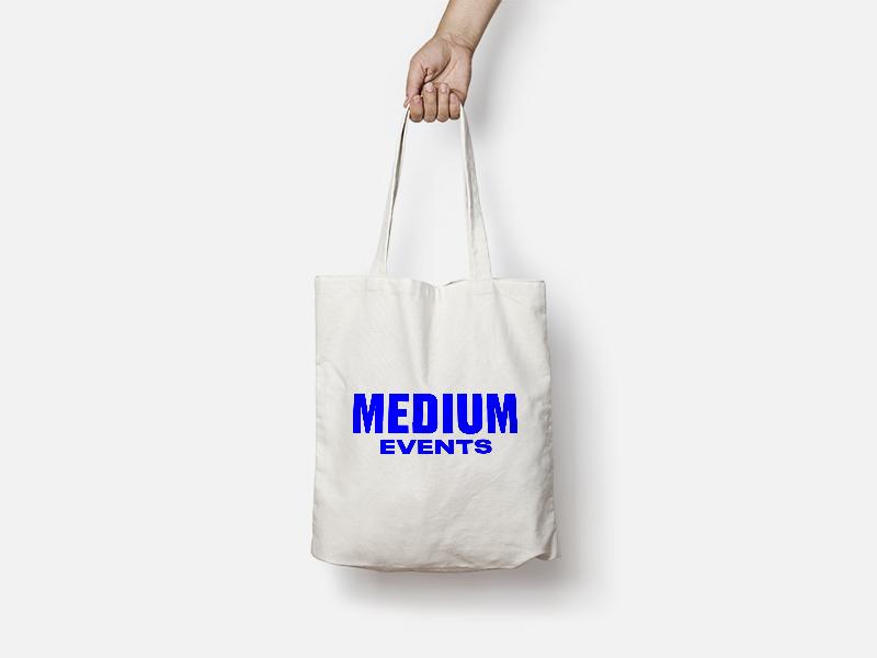 Medium Events Tote Bag event blue logo branding print medium events tote bag