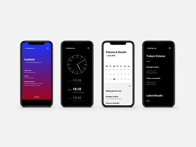 WorldCup18.co Mobile screens clock calendar grid minimal football data sport ux mobile ui branding