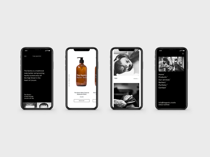 The Gentry Visual Identity — Mobile Screens pdp store shop black product barbershop barber digital mobile website ux layout ui web responsive typography minimal branding