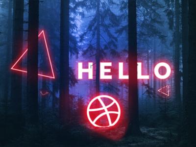 Hello dribbble first shot neon debut night hello invite invitation dribbble