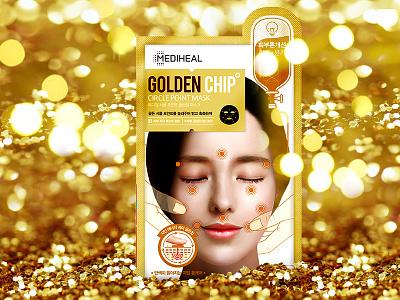 Mask with golden Chip illustration photoshop illustration art illustator design gold beauty commercial advertisment advert mask