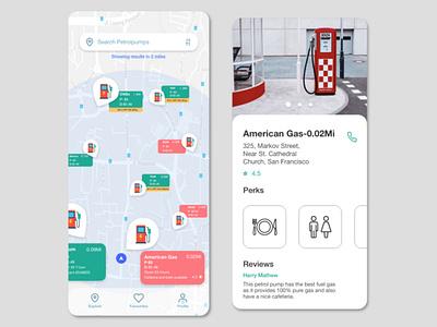 PetrolMap navigation map petrol location ios design branding commercial web illustration app ux ui design