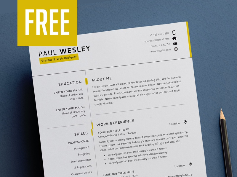 Resume Template and Cover Letter + Business Card - FREE psd resume stationery print design minimal design cv resume free resume psd template business card freebie resume template
