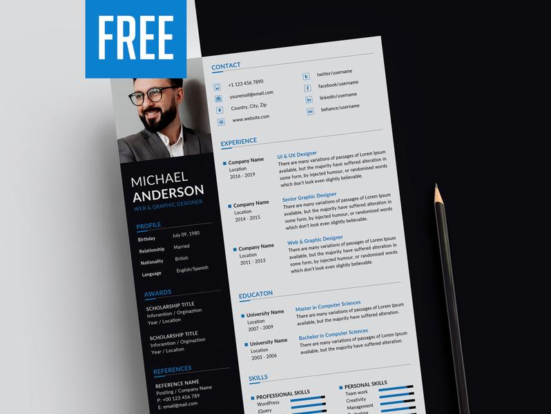 Free CV / Resume Template PSD - Download illustration stationery free resume template resume download cv resume psd resume resume psd resume design freebie resume template