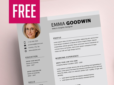 2 Page Resume + Cover Letter - FREE cover letter 2 page resume minimal design cv resume psd resume branding free resume print design resume template psd template freebie