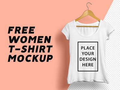 Freebie: Women T-Shirt Mockup free psd photoshop round neck download mockup free mockup mockup freebie mockup template tshirt mockup women tshirt branding freebie