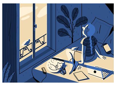 Lockdown cat sun stayhome home lockdown camille ferrari color illustrator illustration graphic editorial art design art