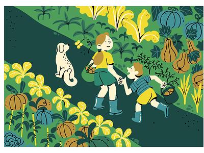 GARDEN gardening fruit family dog flowers vegetables garden nature colors color camille ferrari illustrator illustration graphic editorial art design art