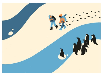 On The Road to Nowhere journey northpole penguin snow illustrator food market illustration graphic editorial art design art