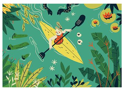 In The Jungle nature plant snake boat kayak jungle illustrator illustration graphic editorial art design art