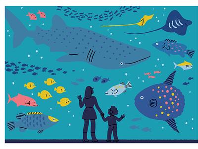 Aquarium color blue aquarium shark fishing whale sea ocean fish swimming weekend illustrator illustration graphic editorial art design art