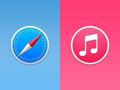 Safari & iTunes - Yosemite safari itunes yosemite osx os x mac apple ios icon