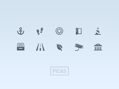 PICAS Classic picas icons glyph pictogram vector photoshop benedik iphone ios ipad retina