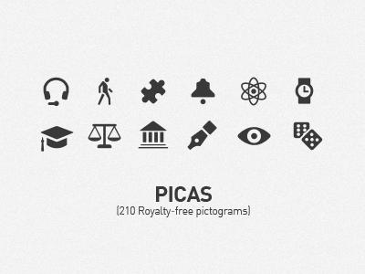 Picas Update 3 picas icons glyph pictogram set vector benedik black grey ipad iphone