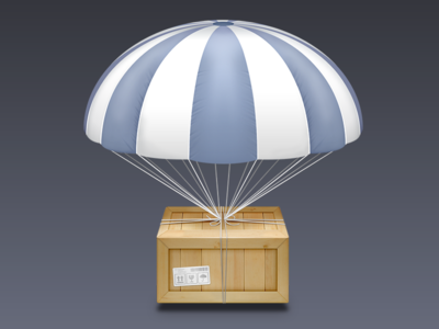 Airdrop Icon (PSD) air drop parachute crate strings icon apple mac osx benedik photoshop