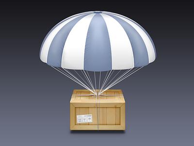 Airdrop Icon (PSD) air drop parachute crate strings icon apple mac osx benedik photoshop