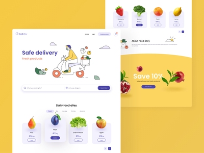 Food Delivery Website ux vectors website fresh ordering web service e-commerce mask landingpage landing scooter order order food food search vector illustration ui design