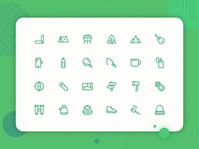 Camping icon set new illustraion web design ui design mobile app campfire marsmellow traveling travel icon bacpack navigation icon mountain icon tent icon basic icons adventure camping icon icons uiux icon set button iconography
