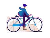 winter cycling - tribute to Gal Shir design procreate ipad character illustration inspiration