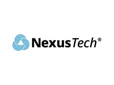 NexusTech technology logo design triangle branding logo