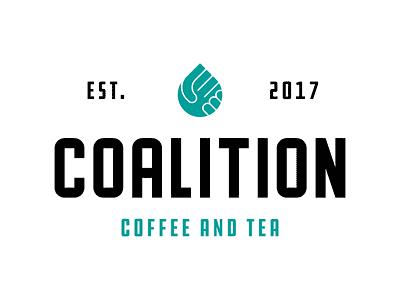 Coalition Coffee and Tea brand identity handshake drop water tea coffee logo design branding logo