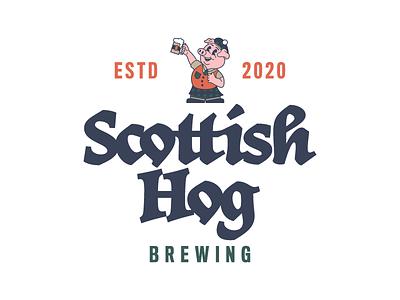 Scottish Hog retro hog beer brewery scotland pig mascot logo design branding logo