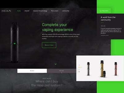HEXA - Website Redesign ✳️ (2/2) product design website design vaping vape neon webdesign product website