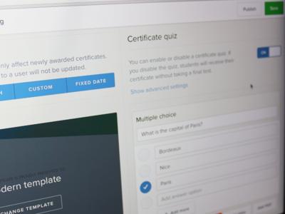 Certificate quiz learning editor certificate ui ux lrm education elearning