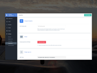 Integrations v2 learn education api settings admin dashboard