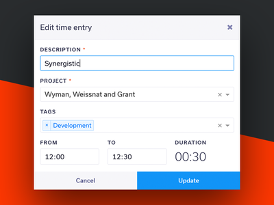 Edit time entry modal platform web app freelance dashboard admin app timer