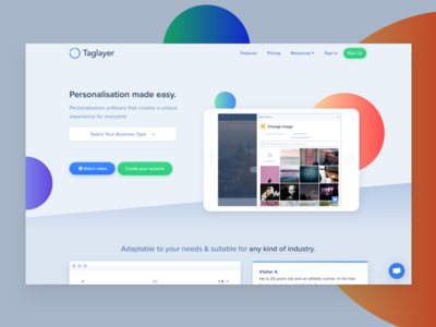 Taglayer Website Redesign - First Iteration gradient ipad startup saas product page website landing