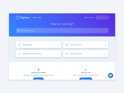 Taglayer - Help Center landing customer support customer ui admin support helpdesk
