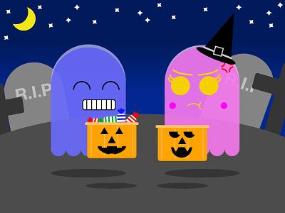 Lucky and unlucky ghost / Fantasma con suerte y sin suerte halloween design cementery candy ghost halloween design illustration adobe illustrator argentina