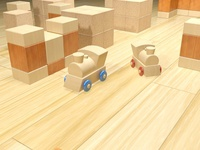 Render 3DS Max Tren de madera / Wooden train