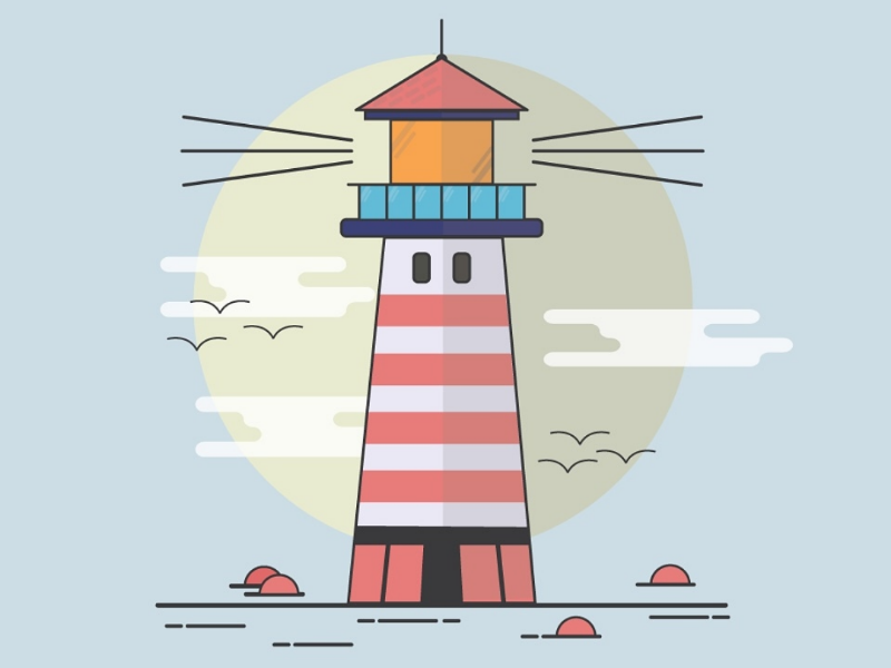 Light House tower graphic illustration design