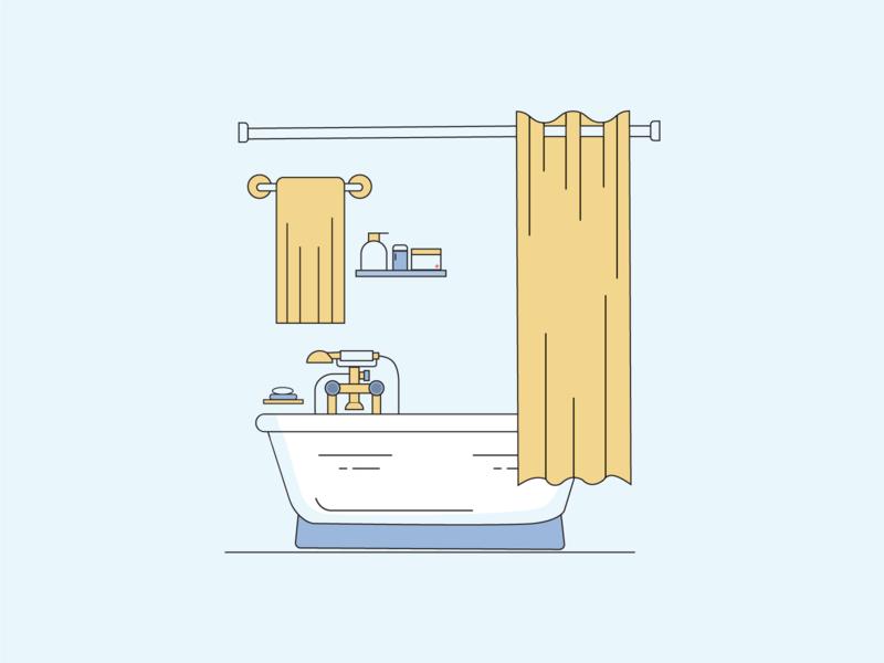 Flat Design Bathtub