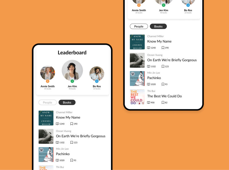 Leaderboard - Daily UI 19 daily ui challenge dailyui19 daily ui 19 mobile design app concept book leaderboard ui daily 100 challenge design app design daily ui dailyui daily 100