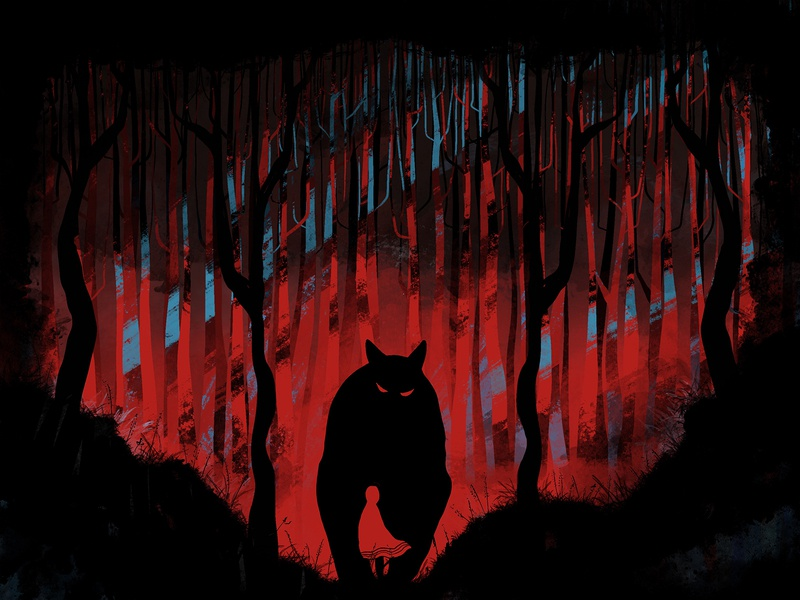 redhood dribbble dark forest drawing wolf red riding hood fairy tale illustration sketch