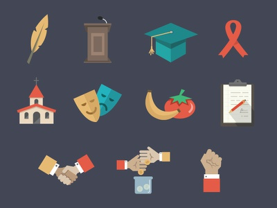 NationBuilder Site Type Icons flat icons quill podium ribbon graduation church fruits hand simple minimal food