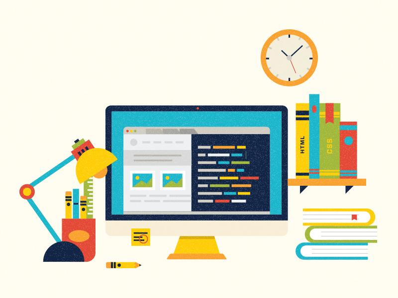 Workstation illustration imac flat icon book lamp clock pencil apple workstation work designer