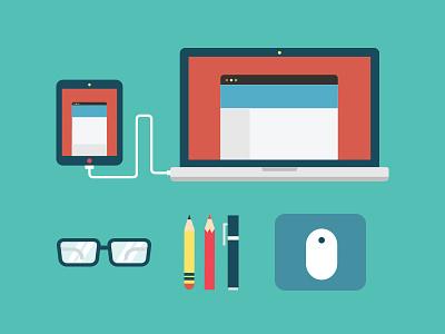 Designer Tools mousepad illustration ipad macbook pro laptop pencil eyeglasses mouse apple flat macbook clean