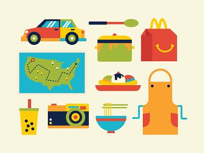 My Favorite Things map ramen noodles banana car cooking apron pot illustration camera flat happy meal
