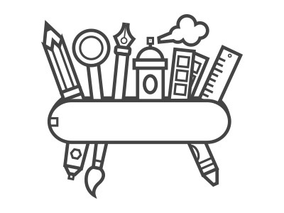 Designer's Swiss Army Knife illustration flat pen pencil lens pantone ruler crayon brush swiss army knife paint