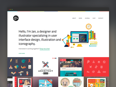 New JanCavan.com workstation website web ui ux flat illustration app interface menu portfolio icon